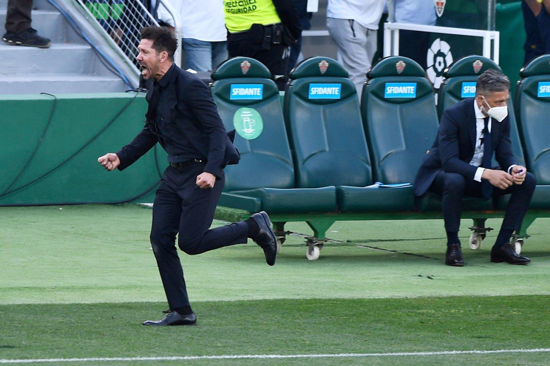 """Atletico"" treneris D.Simeone šventė pergalę.<br>Reuters/Scanpix nuotr."