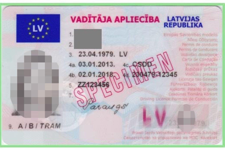 Latviško pažymėjimo pavyzdys.<br>VSAT nuotr.