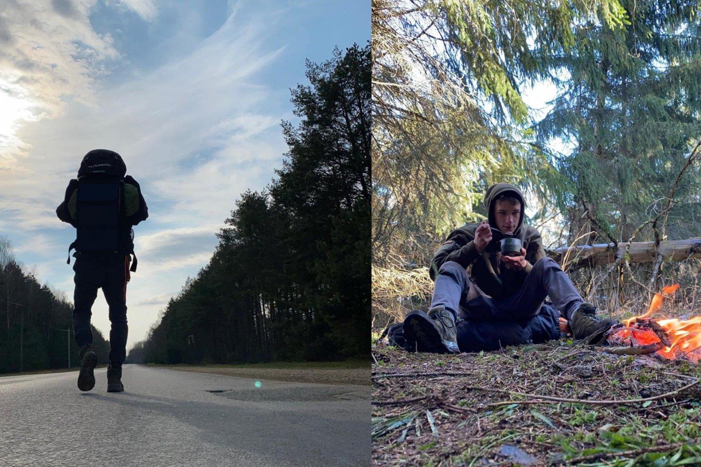 """Pėsčiomis nuo sostinės iki pajūrio nukeliavęs Mantvydas Kriaučiūnas: """"Norint įveikti didelius iššūkius, pradėti reikia nuo mažų dalykų.""""<br>Asmeninio albumo nuotr."""