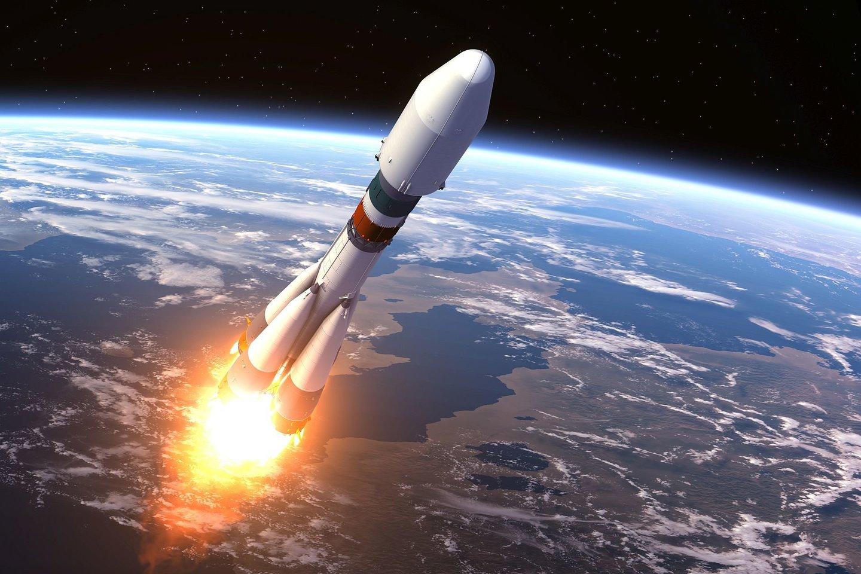 Didžiulė, 30 metrų aukščio Kinijos raketos pagrindinė pakopa jau skrieja žemojoje Žemės orbitoje ir artimiausiomis dienomis turėtų nekontroliuojamai įskrieti į atmosferą (asociatyvinė iliustr).<br>123rf iliustr.