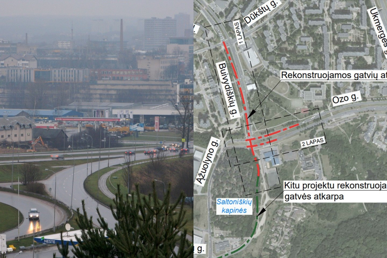 Keisis eismo organizavimas Buivydiškių ir Ozo gatvių sankryžoje bei dalyje Buivydiškių gatvės.<br>lrytas.lt fotomontažas