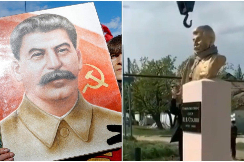 Praėjus vos kelioms dienoms po to, kai Šiaurės Kaukazo Dagestano respublikoje vietos komunistai pastatė paminklą sovietų diktatoriui Josifui Stalinui paskutiniame Rusijoje likusiame Stalino prospekte, paminklas buvo demontuotas. <br>Lrytas.lt koliažas.