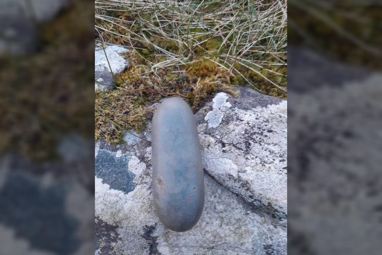 Vienas iš pačių neįprasčiausių kapo radinių yra maždaug ovalo formos poliruotas akmuo.<br>Nacionalinių paminklų tarnybos nuotr.
