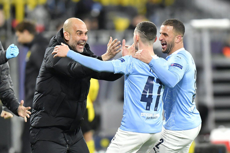 """Manchester City"" bando prasimušti į Čempionų lygos finalą.<br>AP/Scanpix"