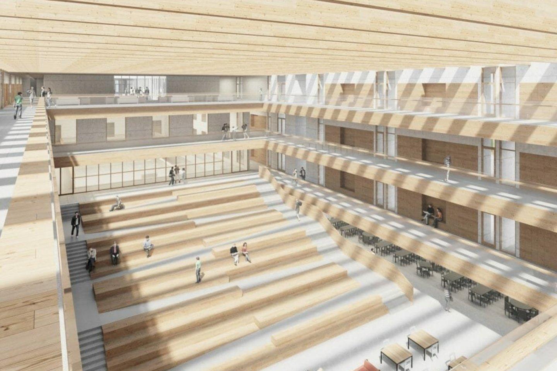 """Pilaitėje, Tolminkiemio g. 2D, atsidarysiančią modernaus dizaino bei išplanavimo gimnaziją galės lankyti apie tūkstantį vaikų.<br>""""DO architects"""" vizualizacija"""