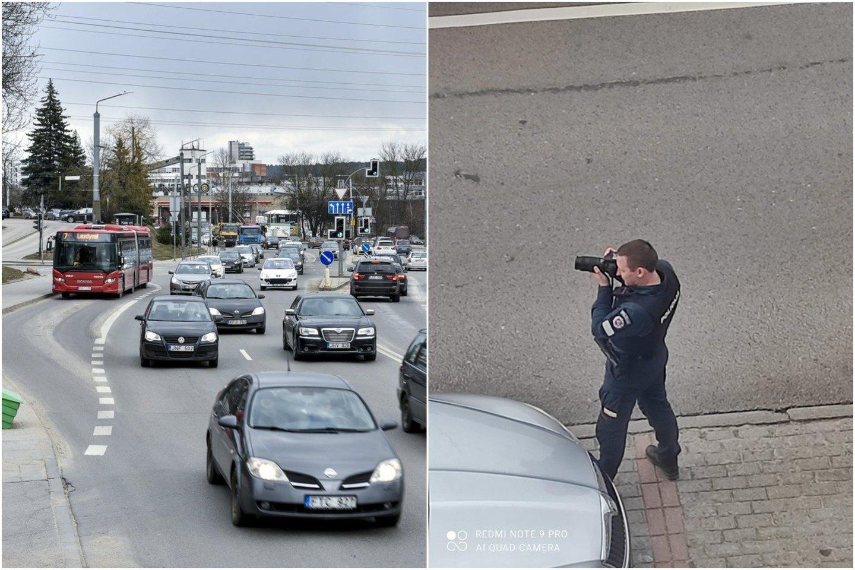 Pareigūnas, sostinėje fotografuojantis automobilius su fotoaparatu, sukėlė daug klausimų eismo dalyviams.<br>Lrytas.lt fotomontažas.