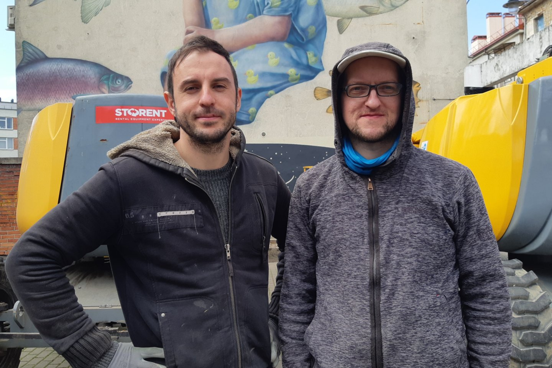 Pirmojo kūrinio autoriai Ž.Amelynas (kairėje) ir T.Šimkus.<br>A.Pilaitienės nuotr.