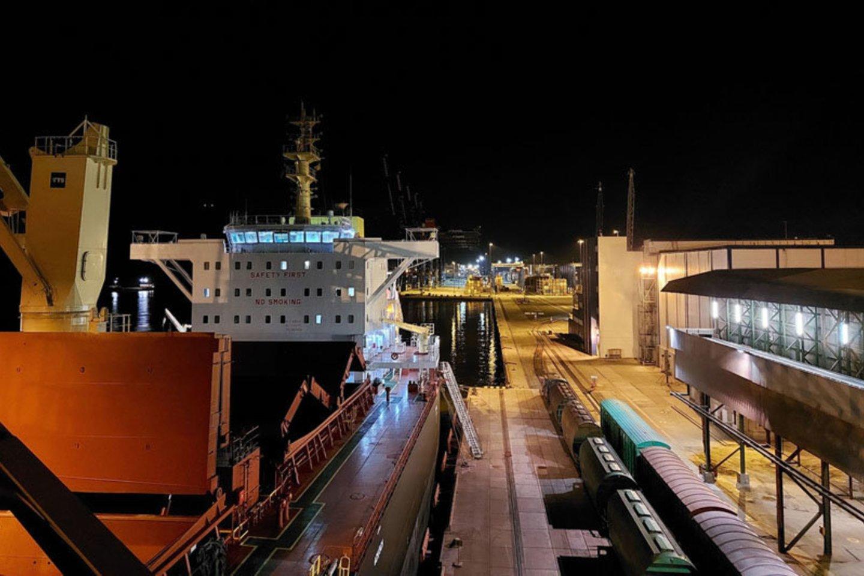 Naktį Birių krovinių terminale kur kas romantiškiau nei dieną.<br>Vitos Jurevičienės nuotr.