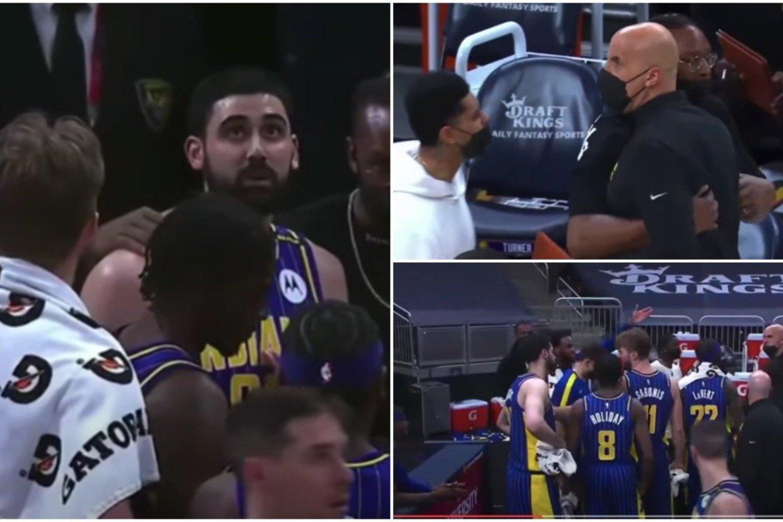 """Trečiadienį""""Indiana Pacers"""" klube įvykęs konfliktas buvo pamirštas po kelių dienų.<br>Youtube stop kadras."""