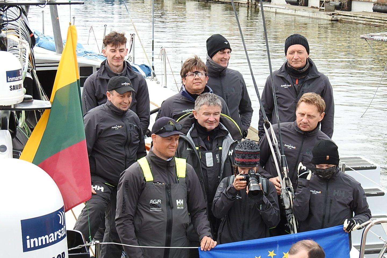 """Lietuvių jachta """"Ambersail-2"""" (kapitonas R.Milevičius) finišavo antra.<br>G.Pilaičio nuotr."""