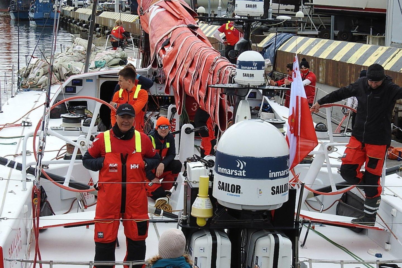 """Lenkų kapitonas B.Bekkingas - daugkartinis lenktynių """"Volvo Ocean Race"""" dalyvis.<br>G.Pilaičio nuotr."""