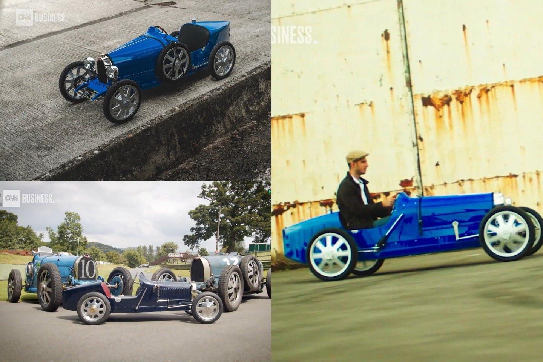 """Prancūzijos """"Bugatti"""" kompanija pradėjo gaminti nedidelį elektrinį automobilį, skirtą važinėti vaikams – """"Baby II"""".<br>lrytas.lt fotomontažas"""