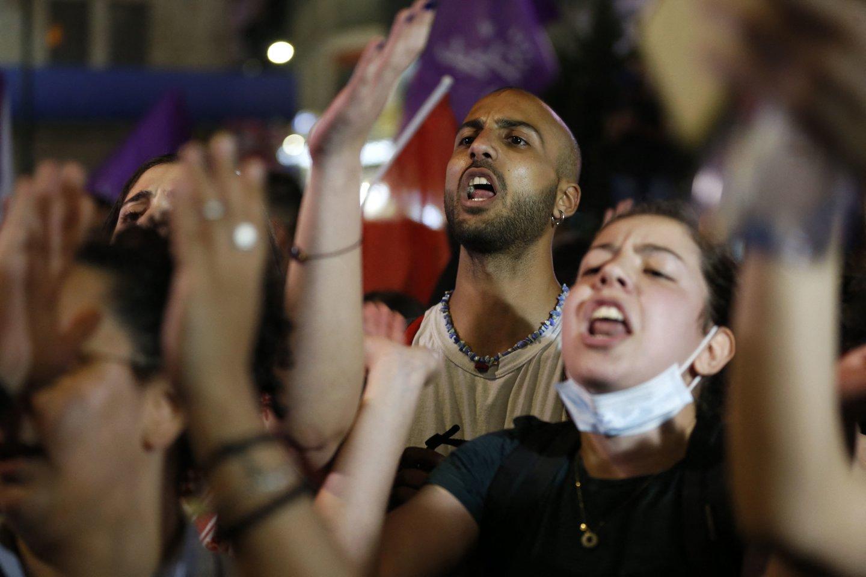 Izraelis telkia pajėgas prie Gazos Ruožo ir imasi priemonių vidaus neramumams malšinti<br>AFP/Scanpix nuotr.