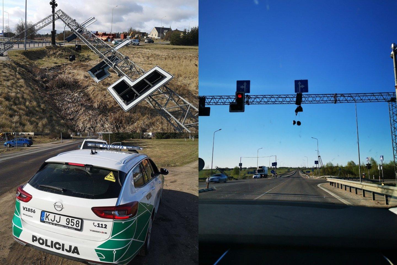 Trečiadienio vakarą Vilniaus rajone, važiuojant link Molėtų, judri sankryža buvo likusi be šviesoforo.<br>lrytas.lt fotomontažas