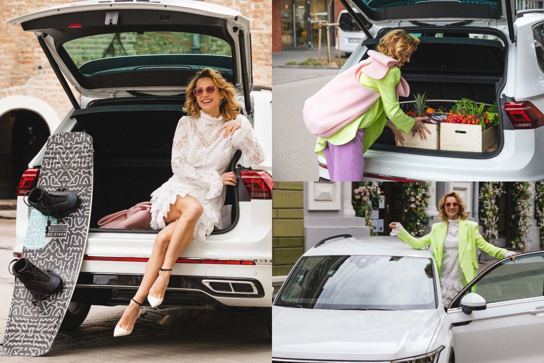 """Indrė Kavaliauskaitė išbandė naująjį """"Volkswagen Tiguan"""".<br>lrytas.lt montažas."""