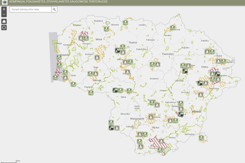 Artėjant vasaros sezonui, Valstybinė saugomų teritorijų tarnyba prie AM sukūrė specialų žemėlapį su stovyklavietėmis, kempingais ir poilsiavietėmis<br>Valstybinės saugomų teritorijų tarnybosnuotr.