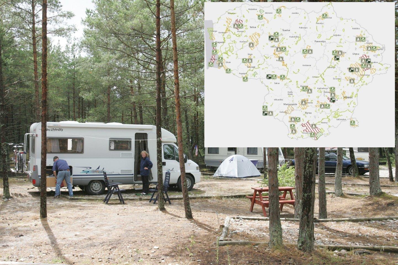 Artėjant vasaros sezonui, Valstybinė saugomų teritorijų tarnyba prie AM sukūrė specialų žemėlapį su stovyklavietėmis, kempingais ir poilsiavietėmis<br>Valstybinės saugomų teritorijų tarnybos nuotr