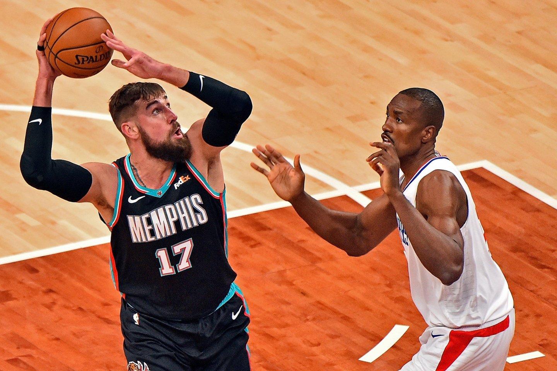 Jonas Valančiūnas puikai žaidė reguliariame NBA sezone.<br>AFP/Scanpix.com nuotr.