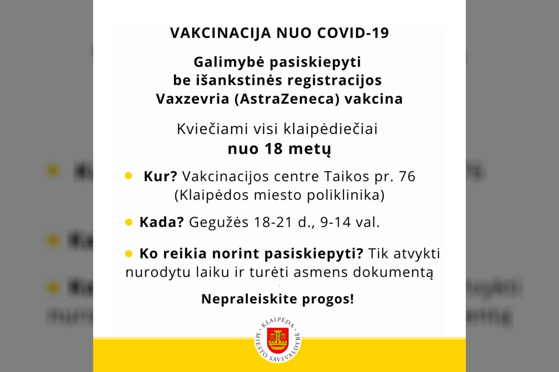"""Šią savaitę pasiskiepyti """"Vaxzevria"""" (""""AstraZeneca"""") vakcina Klaipėdoje jau gali ir visi pilnamečiai.<br>Pranešimo spaudai iliustr."""
