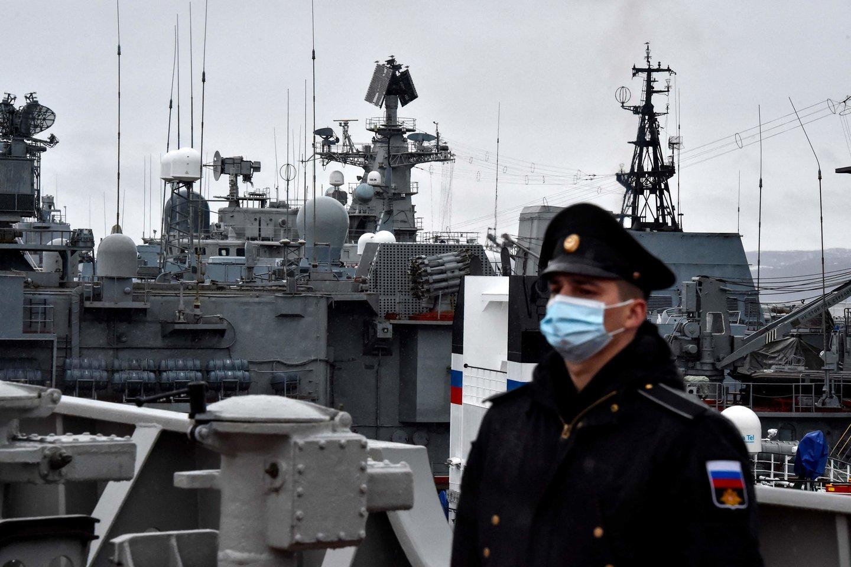 Karo laivai Rusijos Šiaurės laivyno Arkties bazėje Severomorske. (Asociatyvi nuotr.)<br>AFP/Scanpix nuotr.