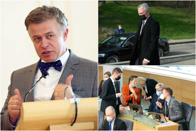 Į Vyriausiąją rinkimų komisiją (VRK) prezidento G.Nausėdos deleguojamas politologas Š.Liekis kaltina TS-LKD spaudimu, konservatoriai kaltinimus neigia.<br>lrytas.lt koliažas.