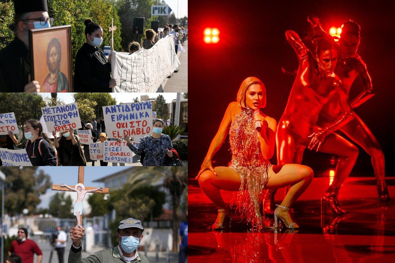 """Būrys dvasininkų surengė protestą prieš """"Eurovizijoje"""" skambančią Kipro dainą: """"Tai negarbinga""""<br>lrytas.lt koliažas."""