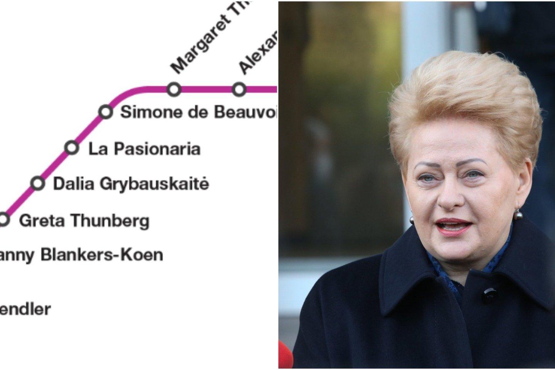 Sukurtas feministinis Briuselio metro žemėlapio perdirbinys skirtas pagerbti moteris, kurios formavo Europos istoriją. Tarp šių moterų atsidūrė ir D. Grybauskaitė. <br>lrytas.lt koliažas.