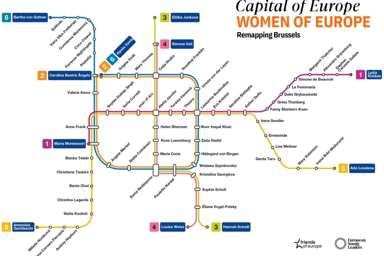 """Sukurtas feministinis Briuselio metro žemėlapio perdirbinys skirtas pagerbti moteris, kurios formavo Europos istoriją. Tarp šių moterų atsidūrė ir D. Grybauskaitė. <br>""""Friends of Europe"""" nuotr."""