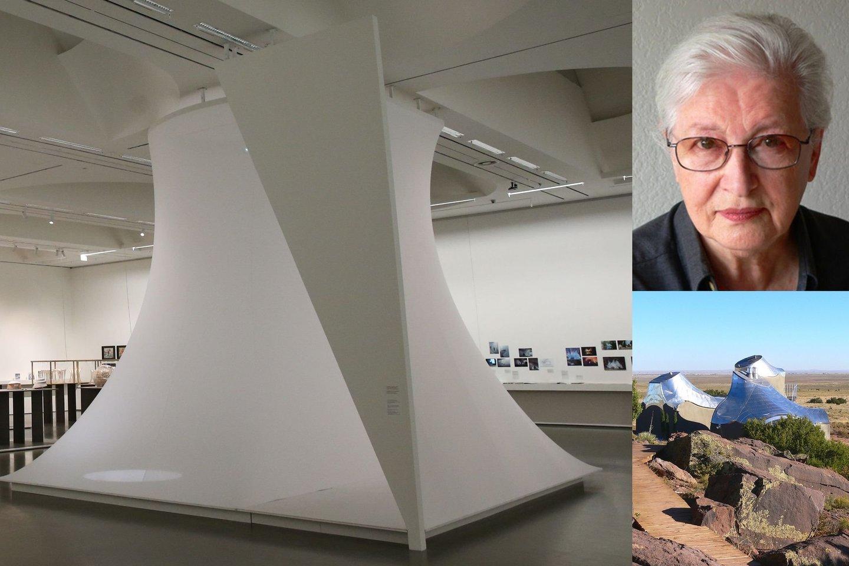Paroda supažindina su A.Kašubos kūriniais ir jos suprojektuotomis kriauklės formos studijomis Meksikos dykumoje.<br>R.Danisevičiaus nuotr.