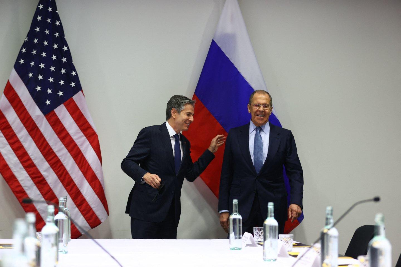 Sergejaus Lavrovo ir Antony Blinkeno derybos Reikjavike.<br>AFP/Scanpix nuotr.
