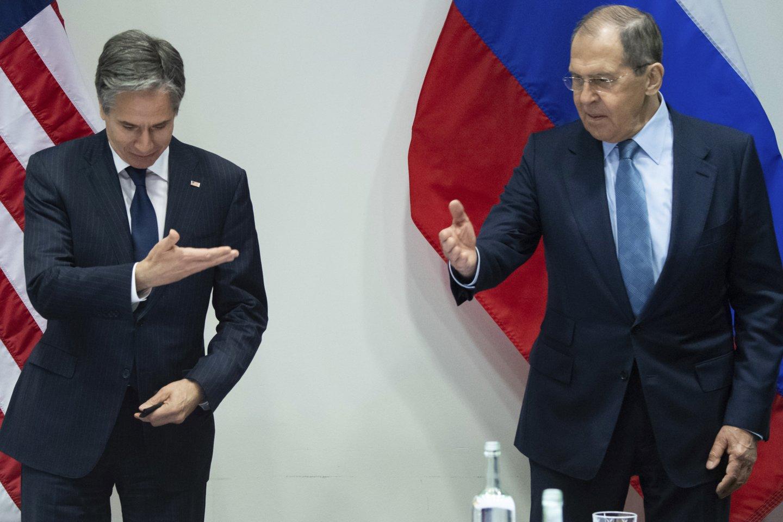 Sergejaus Lavrovo ir Antony Blinkeno derybos Reikjavike.<br>AP/Scanpix nuotr.