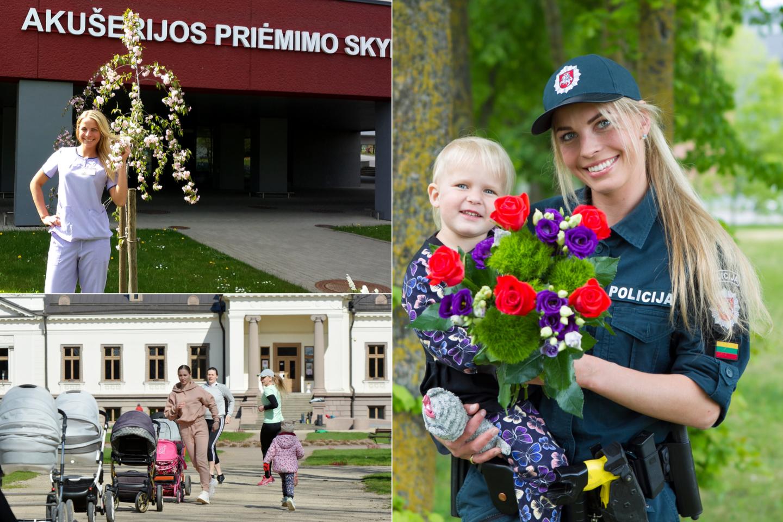 Laura Dabašinskienė yra ir mama, ir akušerė, ir sporto trenerė, ir policijos pareigūnė.<br>lrytas.lt koliažas