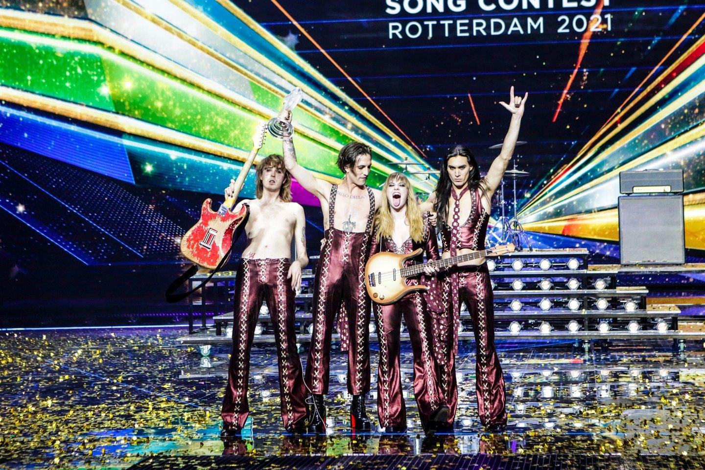 """Italai """"Måneskin"""" laimėjo """"Eurovizijos"""" dainų konkursą.<br>EBU / THOMAS HANSES nuotr."""