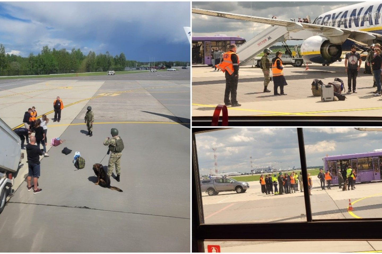 Iš Atėnų į Vilnių skridusiam lėktuvui teko keisti kursą: nusileido Baltarusijoje, apsupo kariai.<br>Skaitytojo nuotr.