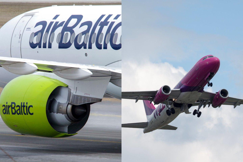 """""""Wizz Air"""" ir """"Air Baltic"""" patvirtino, jog pirmadienį lėktuvų skrydžius nukreipia nuo Baltarusijos oro erdvės.<br>Lrytas.lt fotomontažas."""