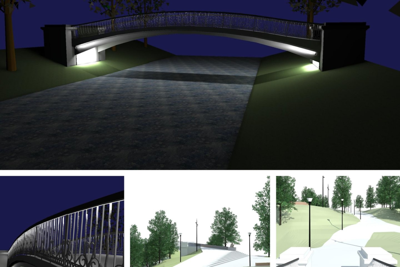 Druskininkų centre, vaizdingoje Nemuno ir Ratnyčios upių santakoje, esantis lenktas tiltelis bus rekonstruojamas, įgyvendinant projektą bus sutvarkytos ir tilto prieigos.<br>Autorių vizual. ir nuotr.