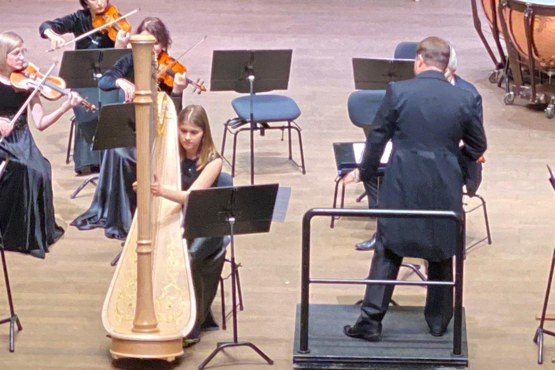 R.Beinario vyriausia dukra Gabrielė groja arfa.