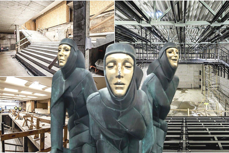 """""""Mūzų šventė"""" bus tvarkoma – skulptūra bus nuvalyta, veidai padengti auksu."""