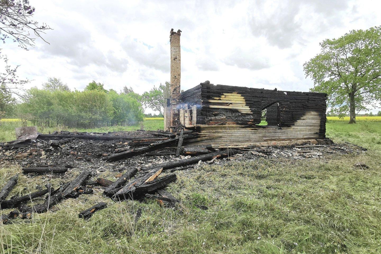 Šakių rajono kaime iki pamatų sudegė negyvenamas namas.