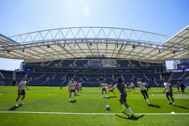 """Manchester City"" treniruotė Porto ""Dragao"" stadione.<br>AP/Scanpix nuotr."