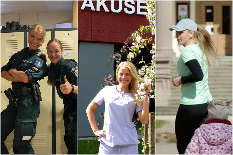 Laura Dabašinskienė yra ir mama, ir akušerė, ir sporto trenerė, ir policijos pareigūnė.<br>lrytas.lt koliažas.