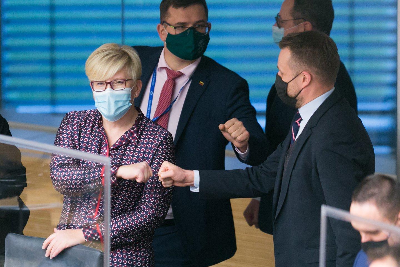 Ingrida Šimonytė, Gabrielius Landsbergis, Laurynas Kasčiūnas<br>T.Bauro nuotr.