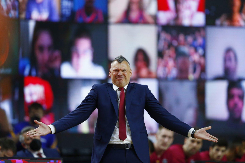 Š.Jasikevičiaus emocijos finale.<br>Reuters/Scanpix nuotr.