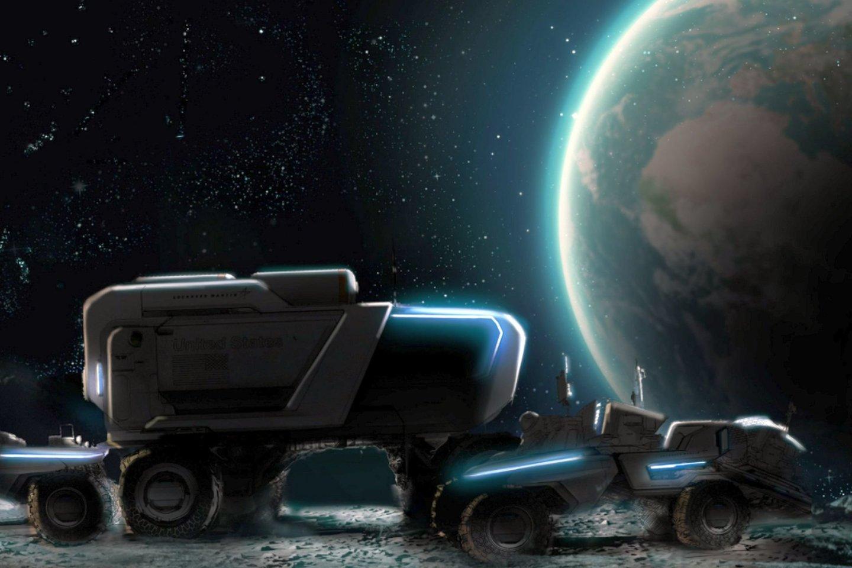 """Aerokosminių technologijų kompanija """"Lockheed Martin"""" ir automobilių gigantas """"General Motors"""" pristatė savaieigio mėnuleigio koncepciją.<br>""""Lockheed Martin"""" ir """"General Motors"""" iliustr."""