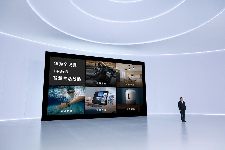 """Trečiadienį vykusiame renginyje technologijų kompanija """"Huawei"""" pristatė keturis naujus produktus ir naująją operacinę sistemą """"HarmonyOS 2"""".<br>""""Huawei"""" nuotr."""
