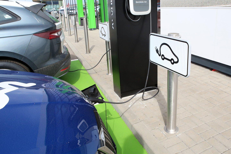 V.Strioga važinėja elektromobiliu.<br>M.Patašiaus asociatyvi nuotr.