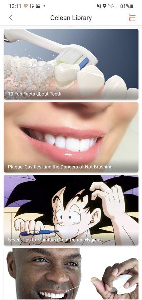 """""""Enciklopedija"""" dantų šepetuko programėlėje."""