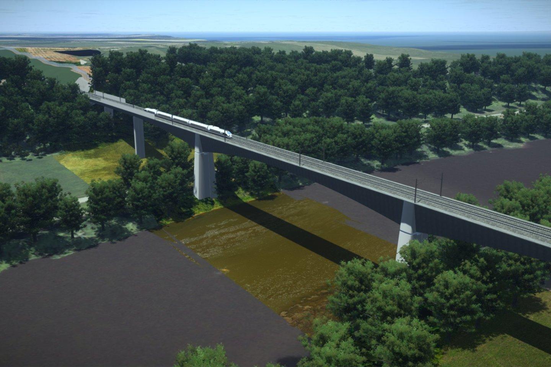 """Skelbiamas naujas konkursas dėl """"Rail Baltica"""" tilto per Nerį statybų.<br>Projektuotojų vizualizacija"""