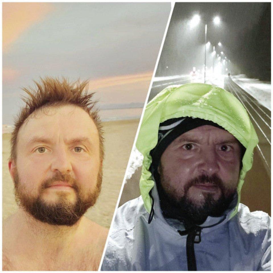 """Kompozitorius Stanislavas Stavickis-Stano pasidalijo kontrastingu nuotraukų koliažu. """"Vienoje šalyje bėgioti vakarais labai gražu, malonu ir šilta. O kitoje lyja, šalta ir tamsu. Bet tik vienoje iš jų už kito posūkio – namai"""", – būdamas Ispanijoje svarstė jis.<br>Asmeninio albumo nuotr."""