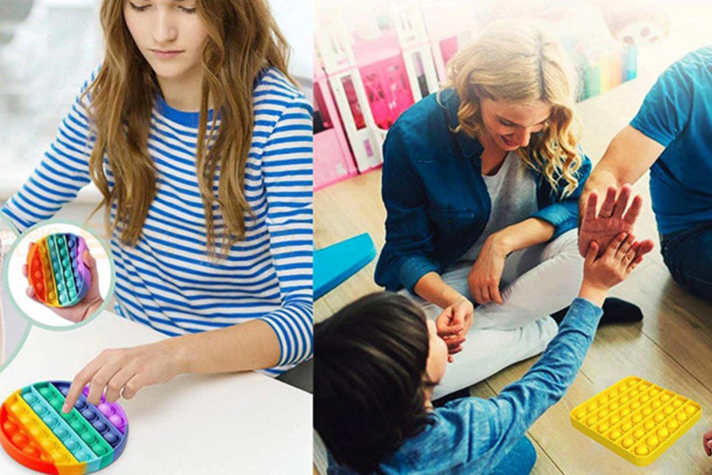"""""""Pop it"""" galima rasti įvairių formų ir spalvų, tad vaikai lengvai išsirinks sau labiausiai patinkančią ir galės iškart pradėti spragsėti."""
